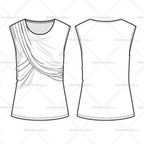 Women's Draped Tank Fashion Flat Template