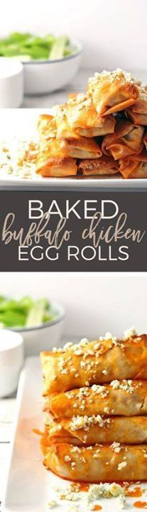 These baked buffalo These baked buffalo chicken egg rolls are...  These baked buffalo These baked buffalo chicken egg rolls are great as an appetizer or lunch! Pair them with blue cheese dressing and extra buffalo sauce! If youre looking for game day recipes this is the perfect appetizer! | honeyandbirch.com | game day | football | ideas | for a crowd | party | food | tailgating | super bowl | easy | classic | best Recipe : http://ift.tt/1hGiZgA And @ItsNutella  http://ift.tt/2v8iUYW