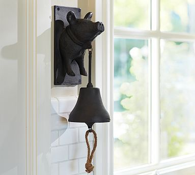 Vintage Blacksmith Wall-Mount Pig Dinner Bell #potterybarn