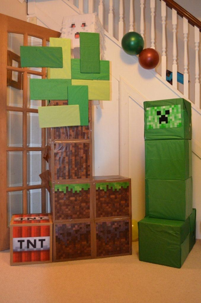 Our minecraft party - punch piñata (for the first game) and decorations
