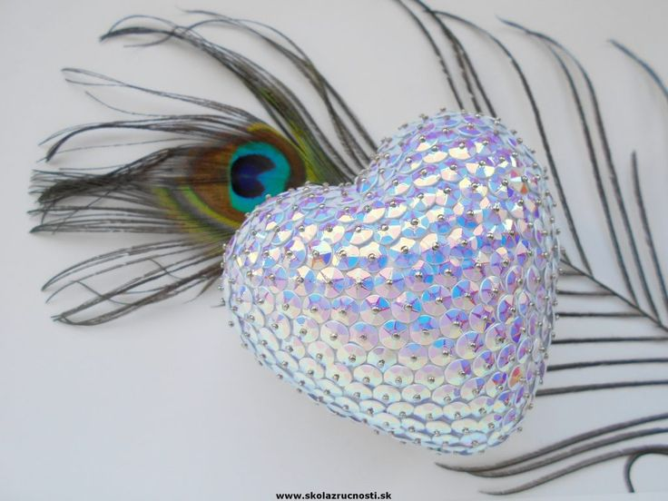 srdce polystyrén flitre styro heart sequins Mother´s Day