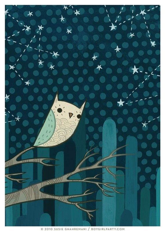 STARRY OWL I art print by Susie Ghahremani, 5x7, constellation owl night artwork giclee: Susi Ghahremani, Starry Night, Owl Art, Boys Rooms, Art Prints, Starry Owl, Night Owl, Constellations Art, Ghahremani Starry