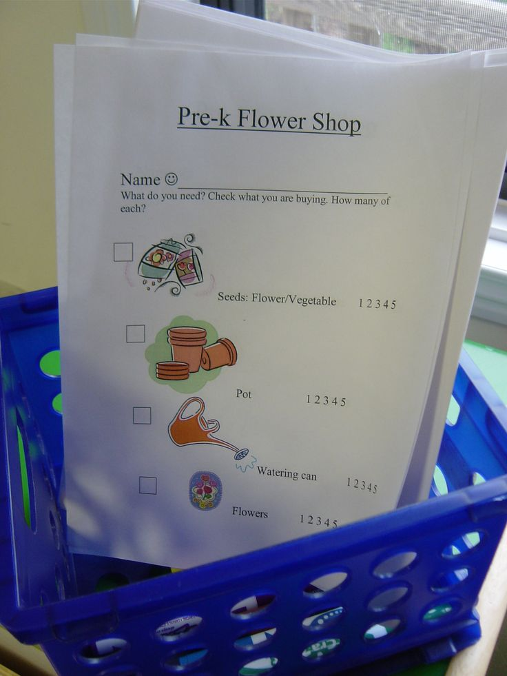 Classroom Exercise Ideas ~ Flower shop order form melissa wrinkle dramatic play