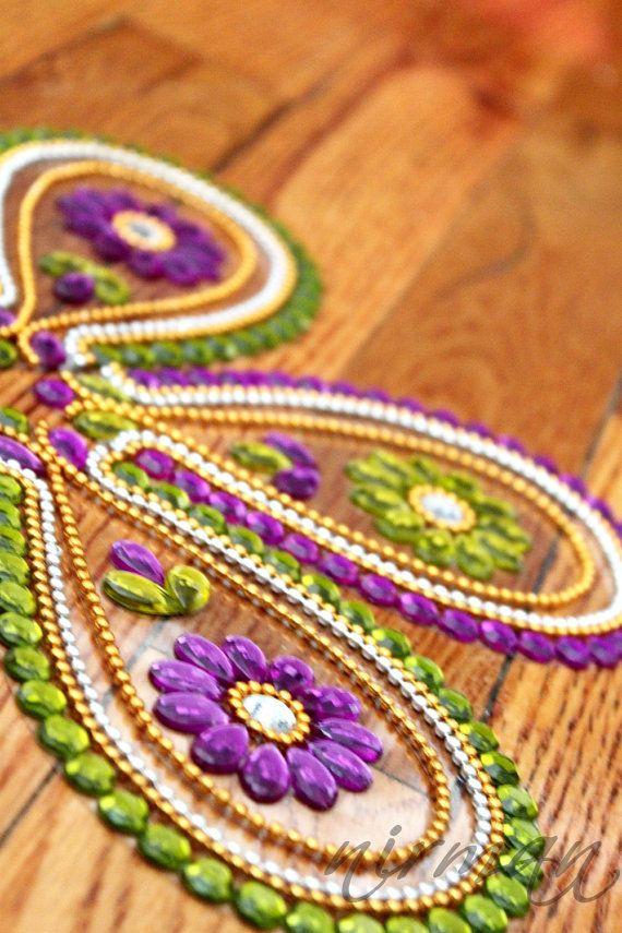 Diwali floor art, rhinestone art, kundan rangoli, Rangoli floor art Indian wedding decor   Tear drop shape by Nirman
