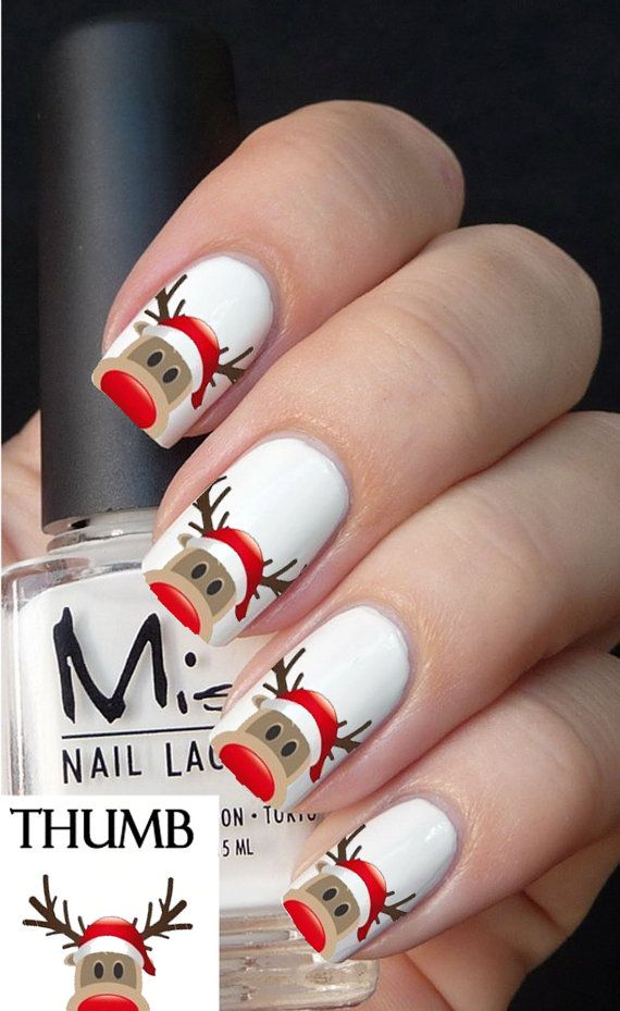 riendeer face nail decal by DesignerNails on Etsy, $3.95