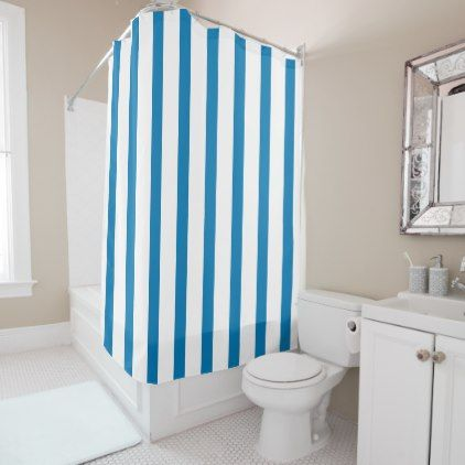 Cerulean Blue And White Stripes Shower Curtain   Patterns Pattern Special  Unique Design Gift Idea Diy