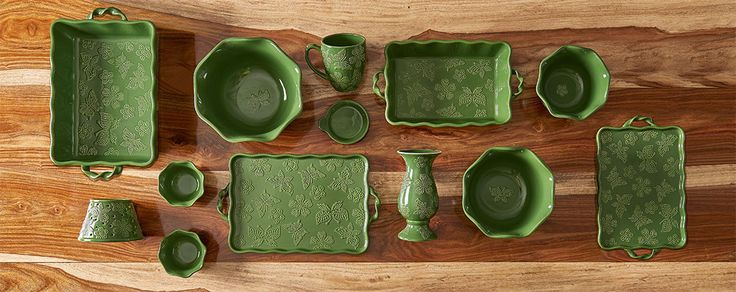 From prep, to cook, to serve, to store, our pieces are microwave, refrigerator/freezer, oven (up to 500 °F) & dishwasher safe.   Each piece is natural, kiln-fired stoneware. Individual hand-painted pieces are part of the charm. We have patterns and colors – from classic to chic.   TO ORDER OR BECOME A CONSULTANT Use link to contact: Sheri Nocelli (Temp-tations, baking, Tara McConnell, QVC, Temptations, bakeware, kitchen, cooking, decor, gift, idea, wedding, bridal, green, butterfly…