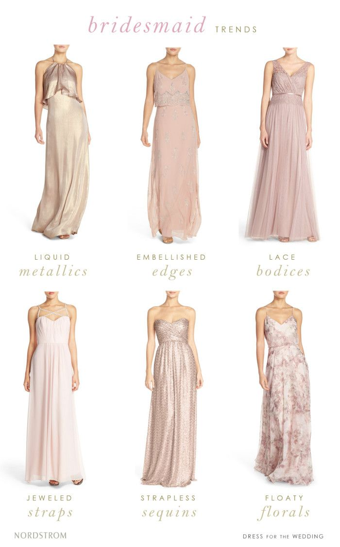 Gold, blush, sequin and embellished bridesmaid dresses