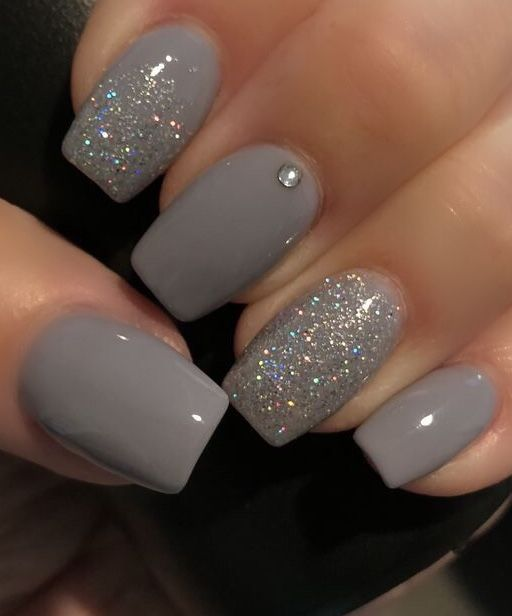 Christmas Acrylic Nails Grey: Silver Glitter Nails, Dipped Nails