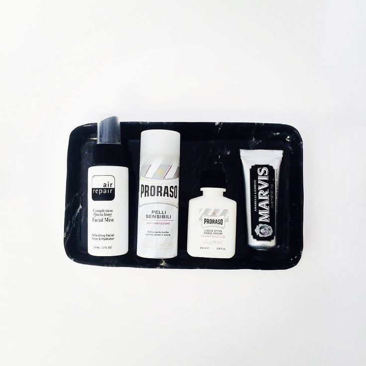 A selection of favourite travel size toiletries for men: @air_repairskin Facial Mist @prorasoaustralia Sensitive Shaving foam and After Shave Cream and Marvis Amarelli Licorice toothpaste. All available at OFFEN. #Marvis #proraso #airrepair #travelsize #offenstore