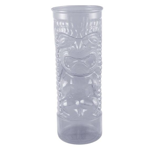 <strong><b><b><strong>Plastic Tiki Glass – 24oz – Clear</strong> </b>-</b> </strong>These plastic tiki glasses are dishwasher safe and made from long lasting durable material. They hold 24oz of your favorite island and tropical drinks, making them perfect for tiki bars, beach bars, or for serving guests delightful drinks at home. Lid and straw sold separately.