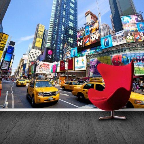 Fotobehang New York yellow cab | Maak het jezelf eenvoudig en bestel fotobehang voorzien van een lijmlaag bij YouPri om zo gemakkelijk jouw woonruimte een nieuwe stijl te geven. Voor het behangen heb je alleen water nodig!   #behang #fotobehang #print #opdruk #afbeelding #diy #behangen #newyork #taxi #timesquare #bigapple #manhattan #amerika #usa #stad #verenigdestaten