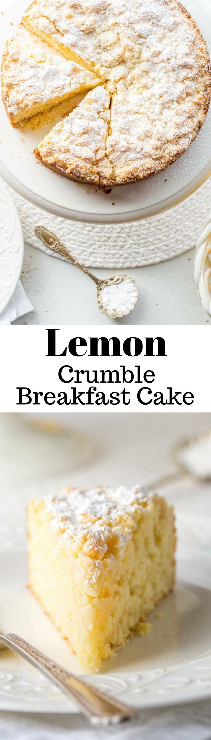 Lemon Crumble Breakfast Cake ~ from the first bite to the last, this cake is loaded with bright lemon flavor. This is a moist, tender cake topped with a sweet crumble top then dusted with powdered sugar. Whether you serve it for breakfast, brunch, afternoon tea or dessert, you'll be basking in enthusiastic, sunny compliments! www.savingdessert.com   breakfast   cake   lemon   crumble   brunch   coffee cake   dessert