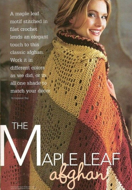 The maple leaf crochet afghan. Red Heart.
