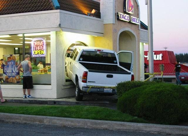 """Taking the word """"Drive Thru"""" to a whole different level! We are wondering if the driver stayed for food?"""
