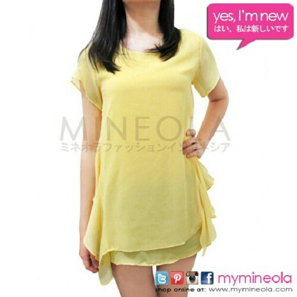 MINEOLA Side Ruffle blouse yellow. Also available in green and orange color. Get this for only Rp.259.000,-