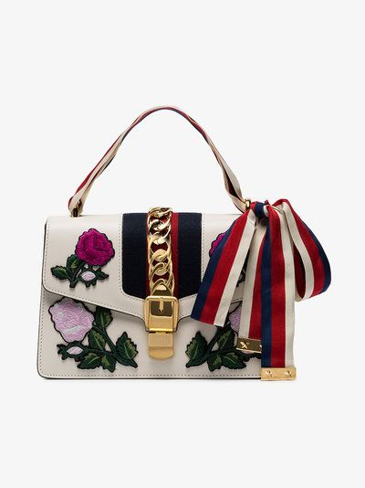 Gucci Small Sylvie Floral Embroidered Shoulder Bag
