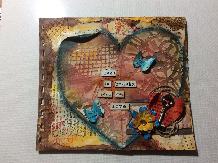 """""""Take in beauty send out love"""" art journal page"""