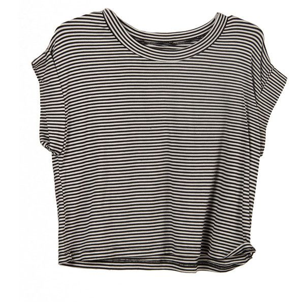 Cut Off Striped Tee ($19) ❤ liked on Polyvore featuring tops, t-shirts, shirts, crop tops, striped tee, striped crop top, crop t shirt, crop tee and oversized shirt