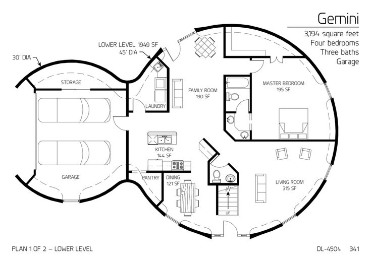 Floor Plans: multi level dome home designs
