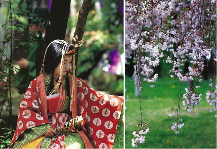 Cherry blossom-viewing and poetry-writing banquet at Kamo Shrine in Kyoto.