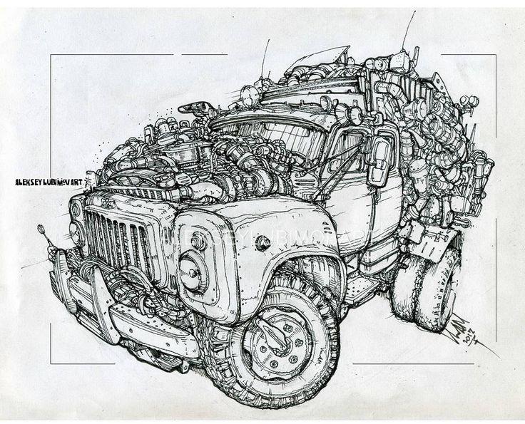 GAZon truck/Author Aleksey Lubimov. #алексейлюбимовбиоме.ханика #алексейлюбимов #стимпанк #дизельпанк #биомеханика #marchofrobots #steampunk #dieselpunk #alekseylubimov_art #biomechanical #lineart #engine #truck