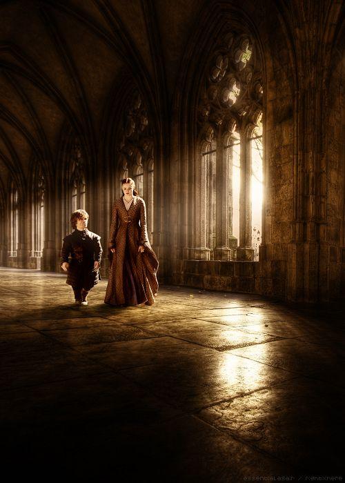 Peter Dinklage as Tyrion Lannister and Sophie Turner as Sansa Stark