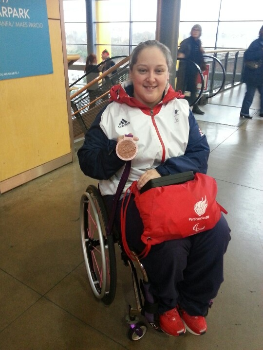 Bronze medalist in Paralympics team GB table tennis sara thomas. She's a lovely lady :) and those medals are as big as they look :)