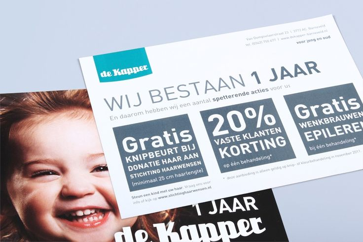 Webdesign, grafische vormgeving en huisstijl is de kracht van reclame- ontwerp- en communicatiebureau Ontwerp van Wouter. » De Kapper Barneveld – Flyer: 1 jarig bestaan