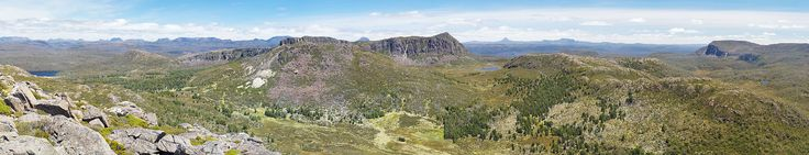 Looking west from Mt Jerusalem. King Davids Peak is centre right. The Temple is in the foreground centre left with Solomon's Throne behind. The peaks behind in the distance are in the Cradle Mountain-Lake St Clair National Park.