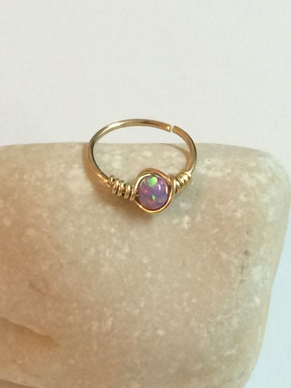 Opal Cartilage Ring  Tiny Cartilage Earring  by FlowerRainbowNJ