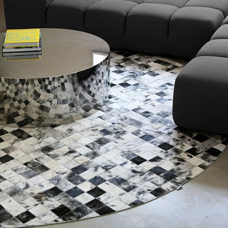 Black And White Round Area Rug