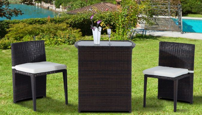 Buy 3-Piece Rattan Furniture Set UK deal for just: £109.99 Dine outdoors with the 3-Piece Rattan Furniture Set      Includes two chairs and a table for an bistro feel      Ideal for smaller nations or even balconies      Crafted from a durable steel frame and brown PE rattan      Tabled topped with 5mm silk printed glass for an elegant and easy to clean finish      Each chair is finished...