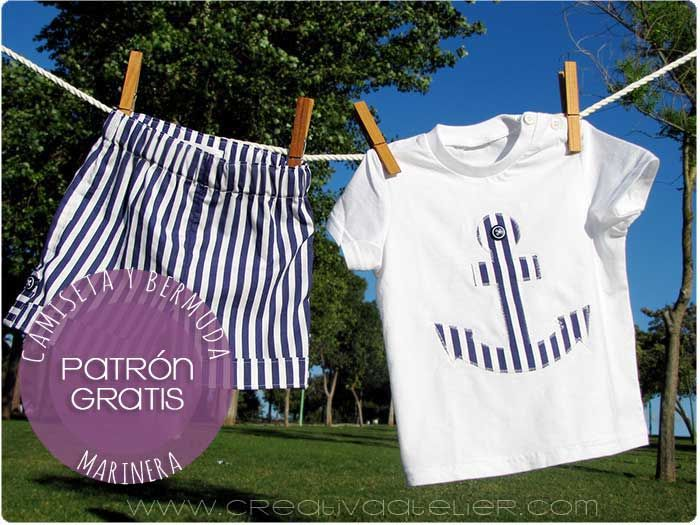 Tutorial paso a paso para hacer una bermuda de #bebé y una camiseta con aplicación. #Patrón del pantalón gratis incluido. #DIY