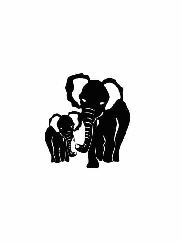 Väggdekor - Två elefanter, passande till barnrummet i en tavla.