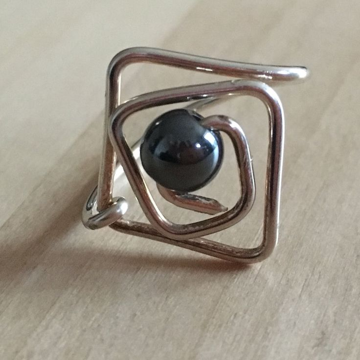 Silver wire wrap ring with centre hematite bead, square ring, bead ring, wire wrap ring, girlfriend ring, gift for her, bead wrap ring, by ValeriesJewellery on Etsy