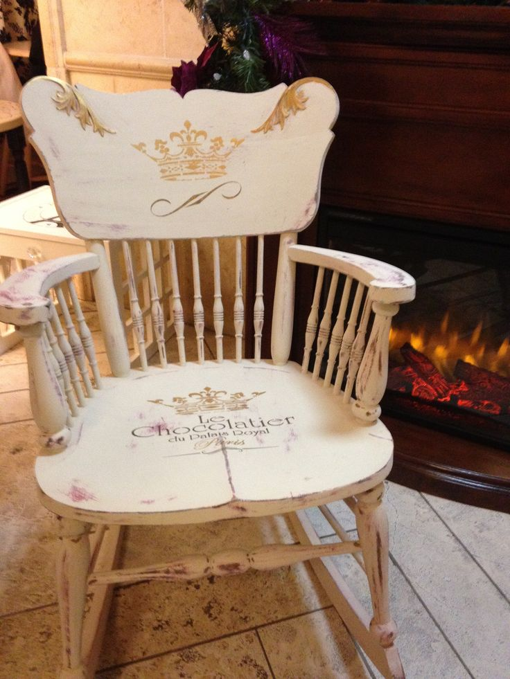 Handpainted wide seat rocking chair, circa 1930s.  Transformed with van Gogh fossil paints cashmere, van Gogh and lipstick, hand stenciled and hand painted. $299 - contact cheryl@behindthepurpledoor.biz