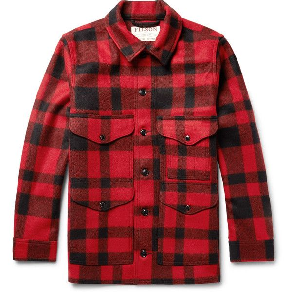 Filson Mackinaw Crusier Checked Virgin Wool Shirt Jacket ($385) ❤ liked on Polyvore featuring men's fashion, men's clothing, men's outerwear, men's jackets, mens military style jacket, mens military jacket, mens utility jacket and mens insulated jackets