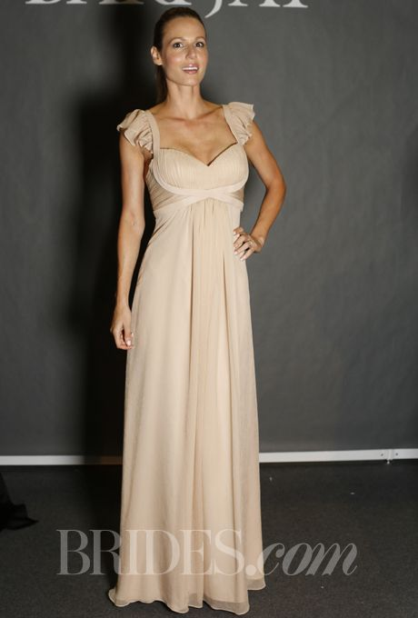 Brides.com: Bari Jay Bridesmaid Dresses - Spring 2014. Style 700, nude crinkle chiffon sheath bridesmaid dress with sweetheart bodice and ruffle sleeve, Bari Jay
