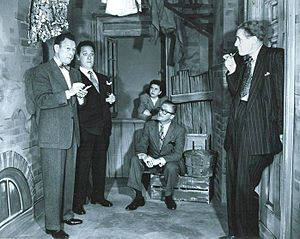 The Allen's Alley cast (l to r): Fred Allen, Kenny Delmar, Minerva Pious, Peter Donald, Parker Fennelly.