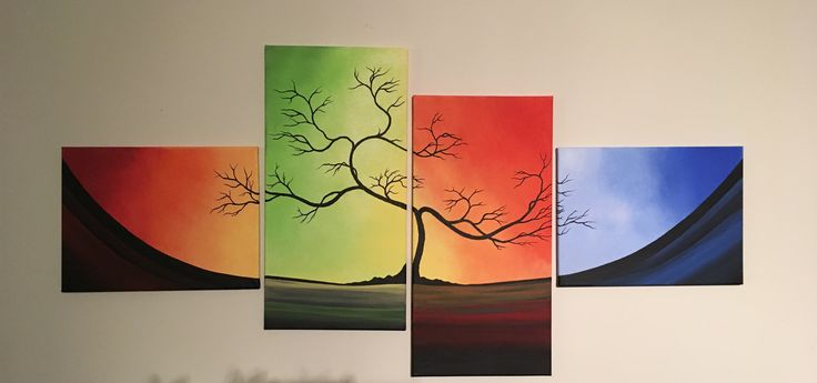 4 canvas acrylic painting. Sold
