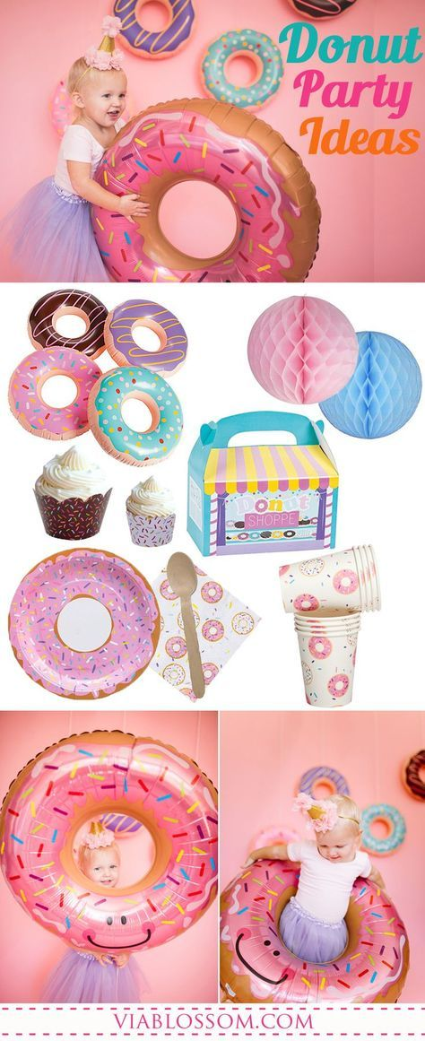 The sweetest Donut Party Ideas and party supplies for a fun Girl Birthday Party! #donutpartyideas #donutparty #donutbirthdayparty