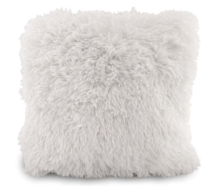 Bílý ozdobný chlupatý povlak na polštář