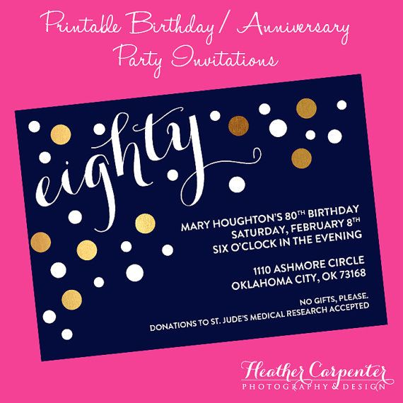"""This """"bubbly"""" invitation is elegant AND fun! Perfect for a classy adult birthday or anniversary party!  Only $20.00 on Etsy."""
