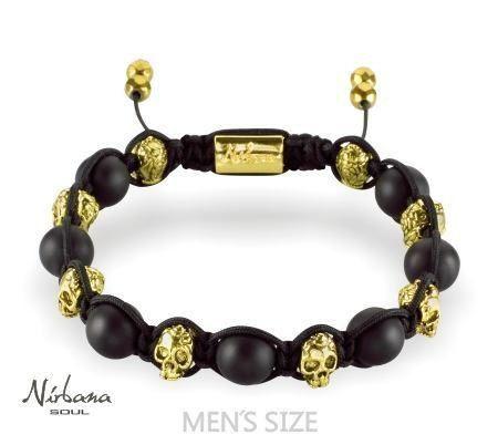 Nirbana Soul - Spike - Mens Skull Shamballa Agate bracelet