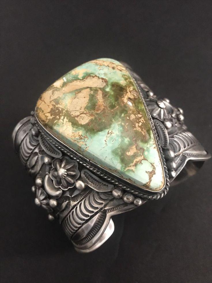 Rare Beautiful Native American Sterling Silver Royston Turquoise Bracelet T Jon