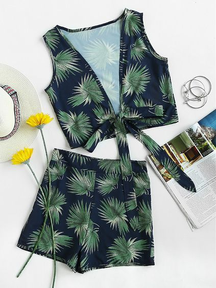 Tropical Print Knotted Multiway Crop Tank Top With Shorts