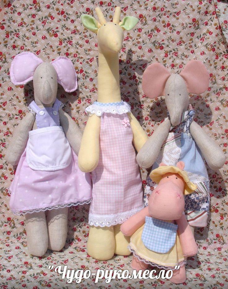 https://vk.com/chudo_rukomeslo Куклы в стиле Тильда, животные, мягкая игрушка, слон, жираф, бегемот, игрушка для детей
