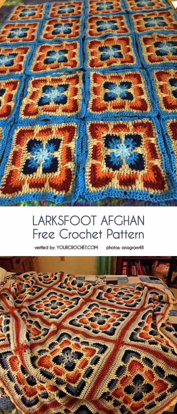Larksfoot Inspired 12 Granny Square And Afghan Free Crochet Pattern
