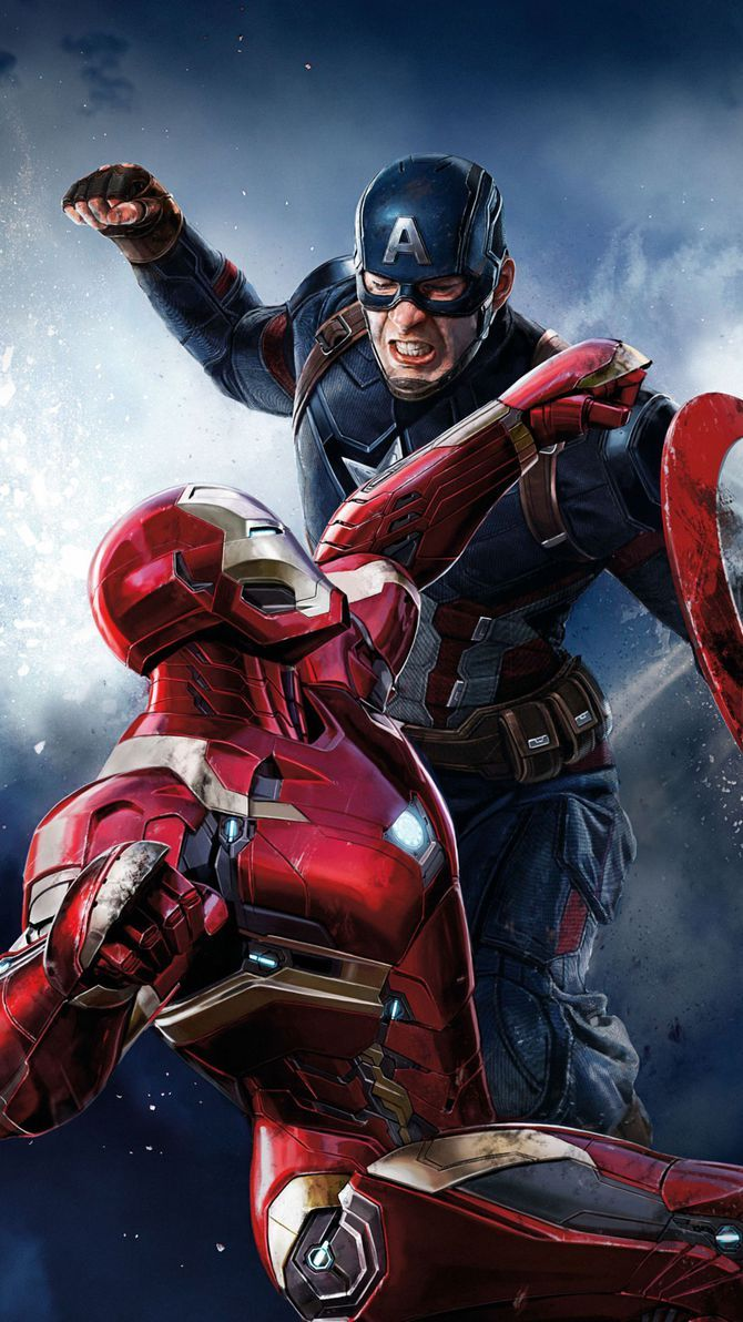 Captain America Civil War 2016 Phone Wallpaper Moviemania Iron Man Vs Captain America Captain America Poster Marvel Superhero Posters